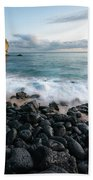 Rocky Beach In Kauai At Sunset Hand Towel by James Udall
