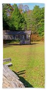 Rustic Double Crib Barn And Split Rail Fence In Cades Cove Hand Towel