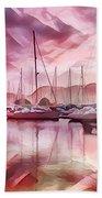 Sailboat Reflections At Sunrise Abstract Bath Towel