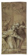 Saint Gregory Praying For Souls In Purgatory  Hand Towel