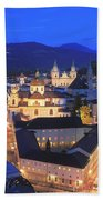 Salzburg At Night Austria  Bath Towel