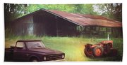 Scenes From The Past - Trucks And Tractors Bath Towel