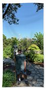 Self Portrait 20 - Aligned With A Half Moon Over Downtown Austin At Zilker Botanical Garden Hand Towel