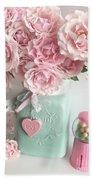 Shabby Chic Pink Roses In Aqua Mason Jar Romantic Cottage Floral Print Home Decor Hand Towel