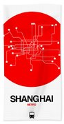 Shanghai Red Subway Map Hand Towel