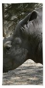 Side Profile Of A Large Rhinoceros With Two Horns  Bath Towel