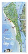 Siesta Key Illustrated Map Bath Towel