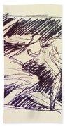 Sketch Of Woman Bath Towel