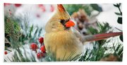Snow Cardinal Bath Towel