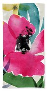 Spring Garden Pink- Floral Art By Linda Woods Bath Towel