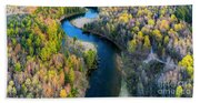 Springtime On The Manistee River Aerial Bath Towel