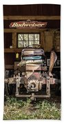 Square Format Old Tractor In The Barn Vermont Bath Towel