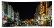 State Street With The Newly Lit Bristol Sign Bath Towel