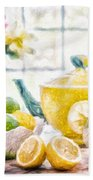 Still Life With Lemons Bath Towel