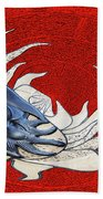 Sun And Moon On Red Bath Towel
