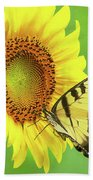 Sunflower And Swallowtail Bath Towel