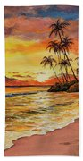 Sunset And Palms Hand Towel by Darice Machel McGuire
