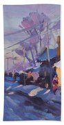 Sunset In A Snowy Street Hand Towel