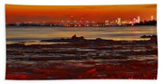 Sunset On The Still Frozen Upper Niagara River Bath Towel