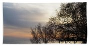 Sunset Scene Of Tree Branches And People Silhouettes Bath Towel