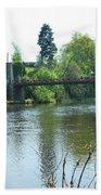 suspension bridge on river Teviot near Heiton Bath Towel