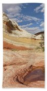 Sweeping Structures In Sandstone Bath Towel by Leda Robertson