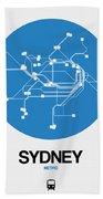 Sydney Blue Subway Map Bath Towel