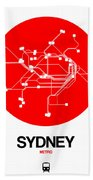 Sydney Red Subway Map Hand Towel