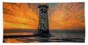 Talacre Beach Lighthouse Sunset Bath Towel