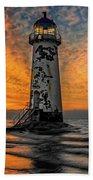 Talacre Beach Lighthouse Sunset Hand Towel