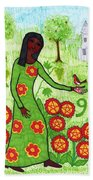Tarot Of The Younger Self Nine Of Pentacles Hand Towel