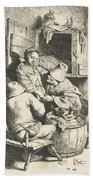 Tavern Man Caressing A Woman Hand Towel