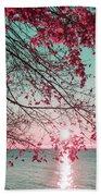 Teal And Fuchsia - Autumn Sunrise Reimagined Bath Towel