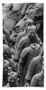 Terra Cotta Warriors In Black And White, Xian, China Bath Towel