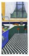 The Cat Cafe Bath Towel by Karen Zuk Rosenblatt