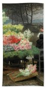 The Flower Vendor On The Quays In Paris Hand Towel