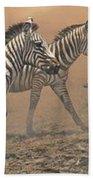 The Race - Zebras Bath Towel by Alan M Hunt