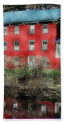 The Red House Along The Autumn Canal Bath Towel