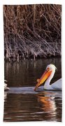 To Pelicans Trolling For Fish Bath Towel