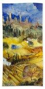 Tuscan Landscape - San Gimignano Bath Towel