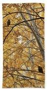 Two Owls In Autumn Tree Bath Towel