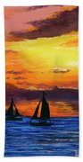 Two Sailboats Hand Towel by Darice Machel McGuire