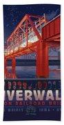 Union Railroad Bridge - Riverwalk Bath Towel by Clint Hansen