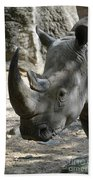 Up Close Look At The Face Of A Rhinoceros Bath Towel