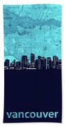 Vancouver Skyline Map Turquoise Hand Towel