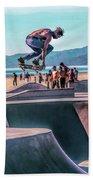Venice Beach Skateboarder Bath Towel by Christopher Arndt
