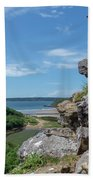 View From Pennard Castle Square Bath Towel