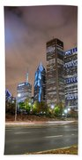 View Of Chicago Skyscrappers With Busy Street In The Foreground Hand Towel