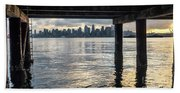 View Of Downtown Seattle At Sunset From Under A Pier Bath Towel