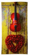 Violin And Heart Wreath Hand Towel